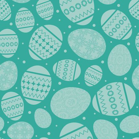aquamarine easter seamless pattern with decorated easter eggs - vector