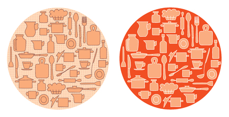 light brown kitchenware on circle backgrounds - vector illustration Illustration