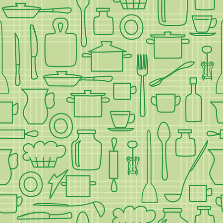 Green kitchenware on light background - vector seamless pattern Stock Vector - 101116886