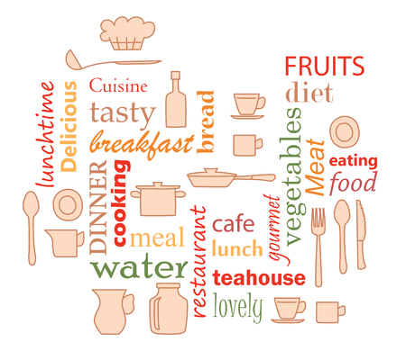 colorful vector - word collage for kitchen with kitchenware items