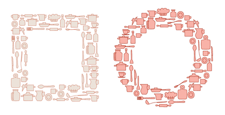 kitchenware in round and quadrate groups - vector illustration