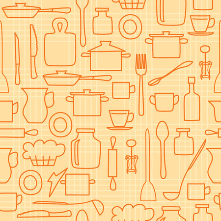 orange kitchenware on light background - vector seamless pattern Illustration