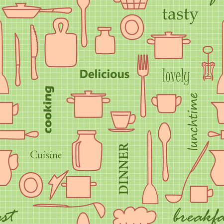 kitchenware and words - light green vector seamless pattern with brown silhouettes