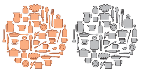 beige and gray kitchenware in round groups - vector illustration Illustration