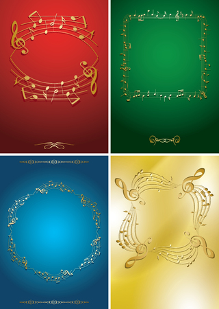 set of vector flyers with gold music frames - musical notes  Illustration