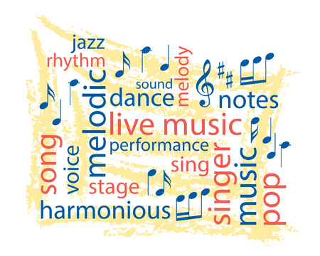 music colorful word collage - vector Stock Vector - 102217453