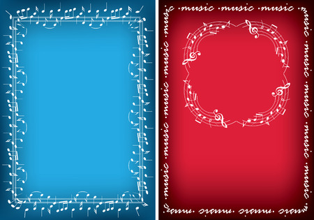 decorative vector backgrounds with music notes - leaflets