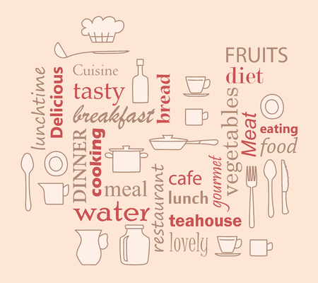 word collage for kitchen and cooking with kitchenware items - beige and red vector