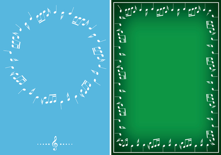 light blue and green backgrounds with white vector music frames Illustration