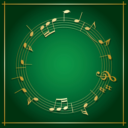 emerald green vector background with round music frame - gold decorations