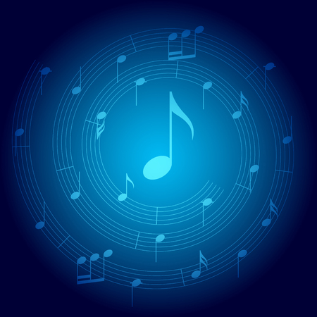 blue vector background with spiral music staff and gradient Illustration