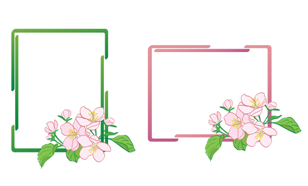 decorative frames with apple-tree flowers - vector Stock Vector - 104651351