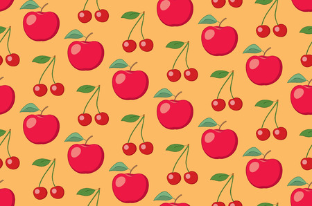 orange vector fruit seamless pattern with apples and cherries