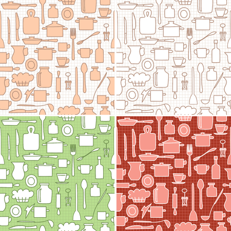 kitchenware on background with squares - vector seamless patterns for kitchen