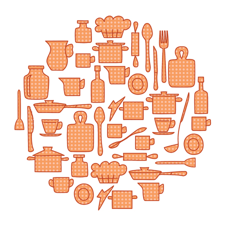 beige kitchenware with pattern in circle background - vector illustration