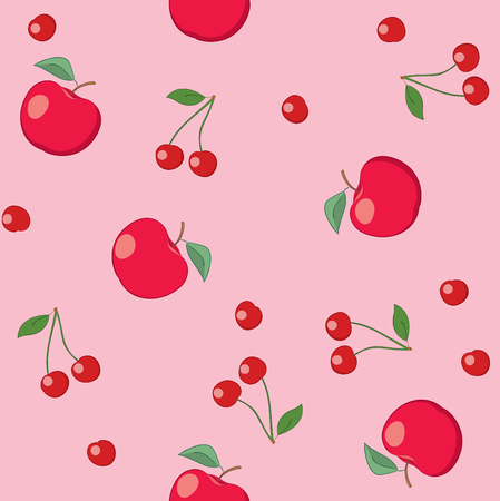 red apples and cherries on rosy background - seamless vector pattern