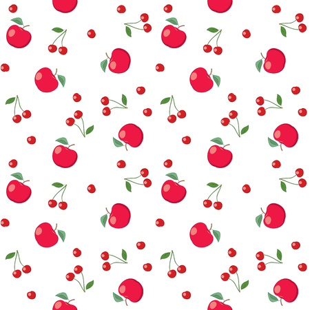 red apples and cherries on white background - seamless vector pattern
