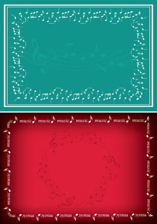 Red and green vector backgrounds with music decorations Stock Vector - 104878761