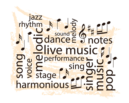 Music word collage - vector notes and words on grungy beige background Stock Vector - 104878763