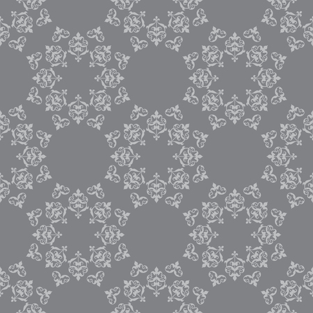 dark gray vector seamless pattern with vintage ornament Illustration