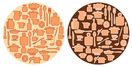 beige kitchenware on round backgrounds with circles - vector illustration