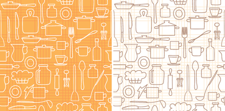 white and brown kitchenware on background with lines - vector seamless pattern Illustration
