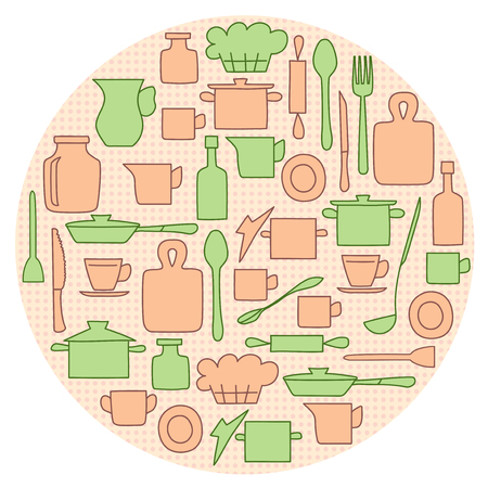beige and green kitchenware on circle background - vector illustration