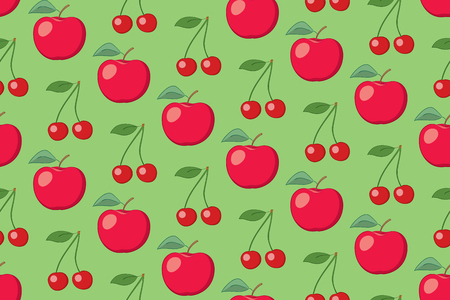 green vector fruit seamless pattern with apples and cherries