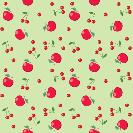 red apples and cherries on light green background - seamless vector pattern Illustration