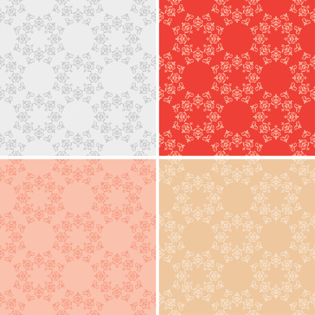 set of seamless textures with vintage elements - vector Illustration