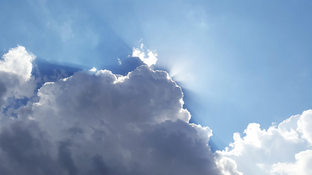 big clouds with sunbeams Stock Photo - 104846621