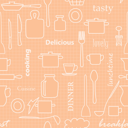 beige kitchenware and words - vector seamless pattern with silhouettes Illustration