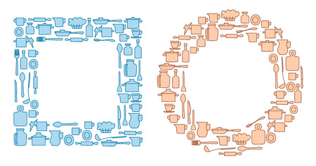 blue and beige kitchenware in round and quadrate groups - vector illustration Illustration