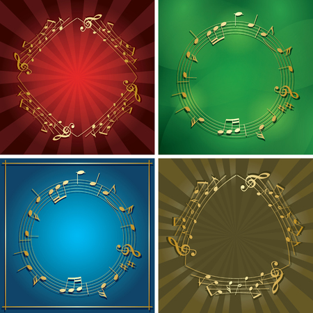 set of vector backgrounds with gold music frames - musical notes on flyers Stock Vector - 106303232