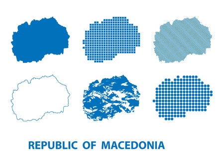 map of Republic of Macedonia - vector set of silhouettes in different patterns Illustration