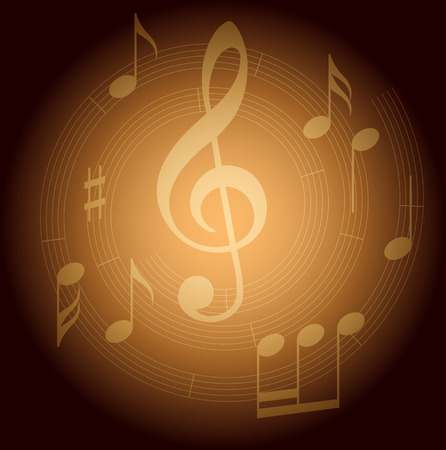 brown vector background with spiral music staff and gradient Stock Vector - 104793916
