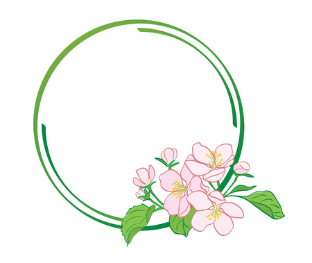 round green frame with apple-tree flowers - vector Stock Vector - 106303234