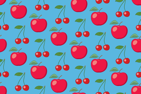 light blue vector fruit seamless pattern with apples and cherries