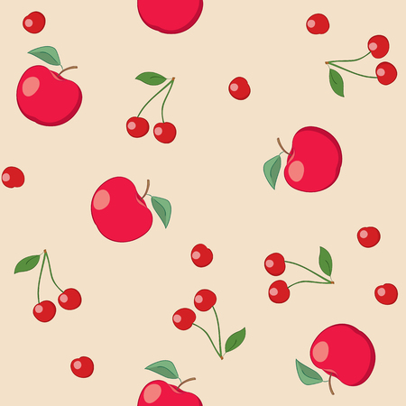 red apples and cherries on beige background - seamless vector pattern Illustration