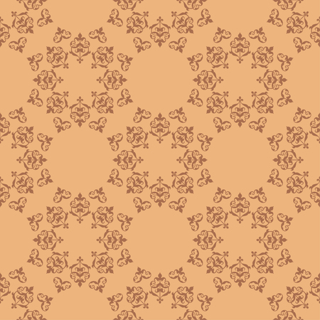 bright brown seamless texture with vintage elements - vector