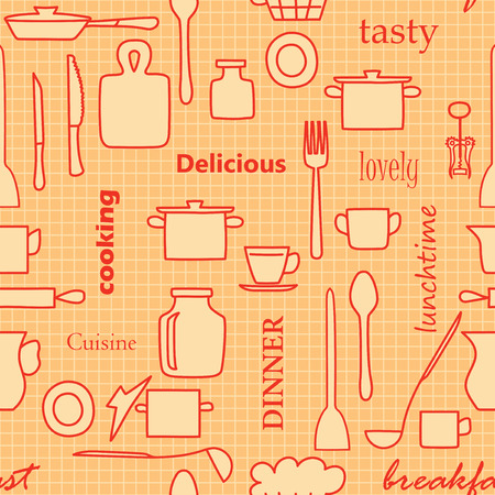 orange and red kitchenware and words - vector seamless pattern with silhouettes Stock Vector - 105102447