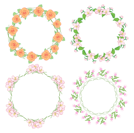 flowers in wreath - round floral vector frames