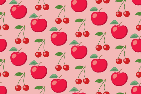 rosy vector fruit seamless pattern with apples and cherries