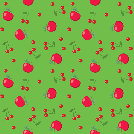 red apples and cherries on bright green background - seamless vector pattern