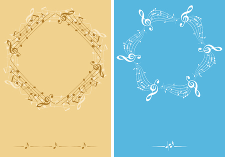 beige and blue music decorative leaflets - vector backgrounds