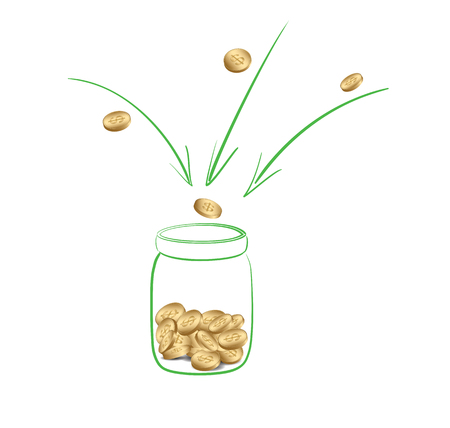 fundraising or donation - collect money into glass jar - vector Illustration
