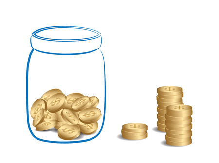 money stacks and jar with coins - vector illustration of fundraising