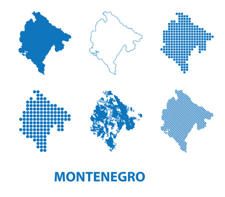 map of Montenegro - vector set of silhouettes in different patterns