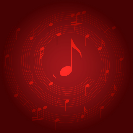 red vector background with spiral music staff and gradient