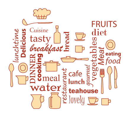 word collage for kitchen and cooking with kitchenware items - dark red and yellow vector Stock Vector - 106303115